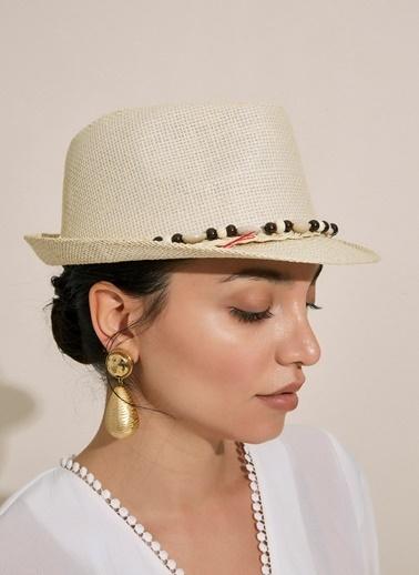 Morhipo Beach Deniz Kabuğu Şeritli Bej Hasır Şapka Bej